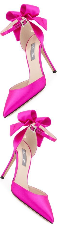 Shoes-SJP by Sarah Jessica Parker Trance Satin Bow Pump, Fuchsia Stilettos, High Heels, Sarah Jessica Parker, Pretty Shoes, Beautiful Shoes, Crazy Shoes, Me Too Shoes, Mode Shoes, Fuchsia