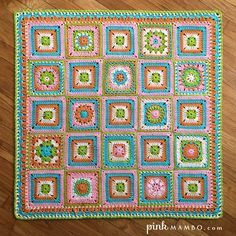 """Cheerful Child baby blanket CAL, free patterns by Carolyn Christmas of Pink Mambo. New block every Thursday & Monday, Jan 7 - Feb 18, 2016. Twelve different 6"""" blocks alternated with same solid block; 25 blocks in all, plus border, 34.5"""" square. Hook size 'I', 1050 yds. (Photo: Hobby Lobby's ILTY in 5 colors, one skein each ~ Pink, Keylime, Desert Glaze, Turquoise, Soft Pink) *Ravelry: http://goo.gl/HQ0bwQ . . .  ღTrish W ~ http://www.pinterest.com/trishw/  . . . #crochet #afghan #throw"""