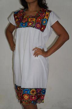 Vestido maya huipil bordado mexicano bohemio por ElPueblo en Etsy, $500.00