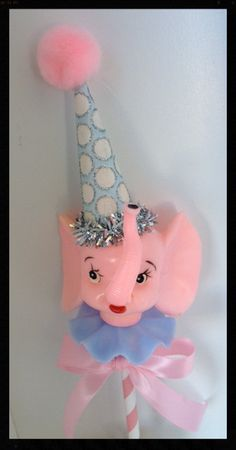 Shabby Chic Vintage Pink Elephant Cake Topper for by JeanKnee Elephant Cake Toppers, Elephant Cakes, Pink Elephant, Happy Birthday Vintage, Vintage Birthday Parties, Retro Birthday, It's Your Birthday, Cake Birthday, Birthday Ideas