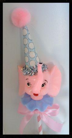 Shabby Chic Vintage Pink Elephant Cake Topper for by JeanKnee Happy Birthday Vintage, Vintage Birthday Parties, Vintage Party, Birthday Fun, Vintage Pink, Birthday Display, Retro Birthday, Vintage Circus, Cake Birthday
