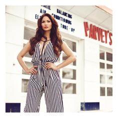 The stunning @cynthiaolav wears a striped jumpsuit #SFIZIOSS17 📸 by @natalyaphoto  #sfizioloves #SS17 #womenwear #madeinitaly #cynthiaolav