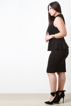 Free SH & Easy Returns! Shop Mock Neck Semi Sheer Mesh Midi Dress featuring a plus size dress with semi sheer mesh, sleeveless fit, pencil skirt with peplum detail, and zipper fastener at back.