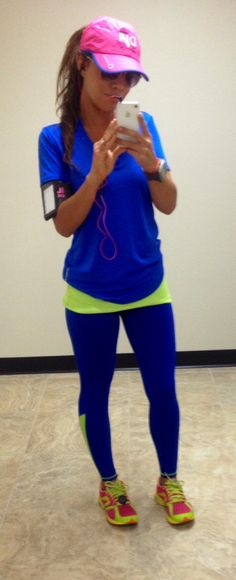36e249289e448 Hco (Hollister) running tights- Crazy comfortable.. royal blue and bright  yellow