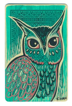 'Owl on a Playing Card' by Jessica Dixon