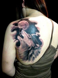 Wolf Tattoos have many positive meanings ,these tattoos are mostly used by women.Check out the best collection of Wolf tattoos here and pick your favourite. Lone Wolf Tattoo, Howling Wolf Tattoo, Wolf Tattoo Back, Wolf Howling, Wolf Tattoo Design, Moon Tattoo Designs, Tattoo Girls, Girl Tattoos, Tattoos For Guys