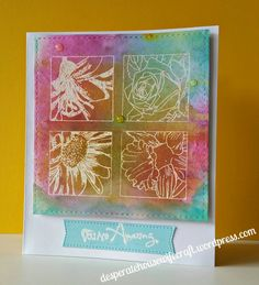Stamplorations stamps on Stampin Up's blended background