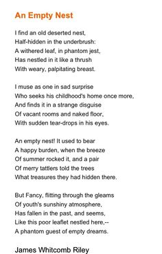 """An Empty Nest"" James Whitcomb Riley"