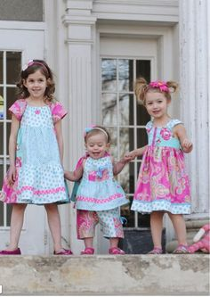 Easter Dresses! Haha! My mom used to sew us cute matching outfits like these....
