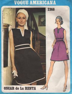 Vogue 2368, Misses Dress. Sleeveless dress with semi-fitted bodice and full skirt gathered at high waistline has jewel neckline with front slit and