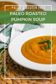 Autumn Doesn't Have To Only Mean Unhealthy Foods And Pumpkin Coffees. Attempt This Roasted Pumpkin Soup Recipe, It's Seasonal, Healthy, And Delicious Roasted Pumpkin Soup Recipe, Roast Pumpkin Soup, Healthy Soup Recipes, Real Food Recipes, Paleo Soup, Free Recipes, Cooking Recipes, Yummy Food, Slow Cooker Recipes