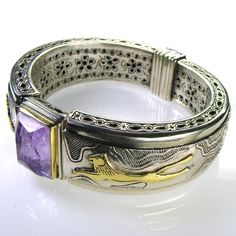 The lion bracelet: Silver 925, Gold k18, Amethyst