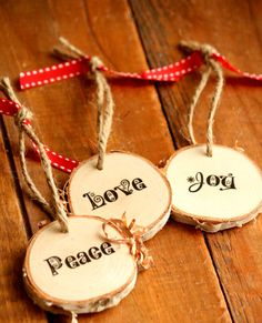 Rustic Peace Love Joy tree ring ornaments - Set of THREE - Hostess Gift - Christmas in July - Gift Tags - Cottage Christmas