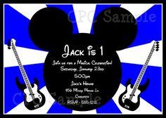 Rockstar Mickey Mouse Birthday Invitation