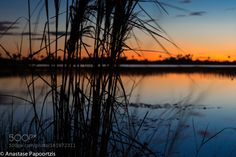 From Dusk till Dawn by AnastasePapoortzis  lake sunset water blue clouds pond dusk lago natureza blue hour paisagem savannah savana juncos sava
