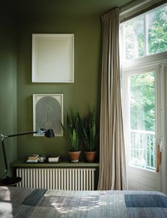 Looking for the perfect nature inspired home decor theme? Here is a collection of useful and inspirational ideas based on the natural green colors which brings a calming and relaxing atmosphere to your home interior. Olive Green Bedrooms, Olive Bedroom, Green Bedroom Walls, Olive Green Walls, Bedroom Decor, Bedroom Ideas, Brown Furniture, Farrow Ball, House Rooms