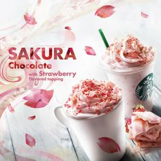 Starbucks Sakura Chocolate with Strawberry Flavored Topping, Japan