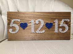 CUSTOM Date String Art Sign (Wedding, Anniversary, Birthday), love art, wall art, personalized gift, wedding gift by KiwiStrings on Etsy https://www.etsy.com/listing/254188116/custom-date-string-art-sign-wedding