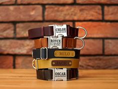 Leather Dog Collar Personalized, Custom Dog Collar with Embossed Leather Name Tag, Engraved Leather Pet Collars for Puppies and Dogs Custom Cat Collars, Personalized Dog Collars, Leather Dog Collars, Dog Thoughts, Dog Collar With Name, Puppy Collars, Dog Crafts, Dog Accessories, Dog Lover Gifts
