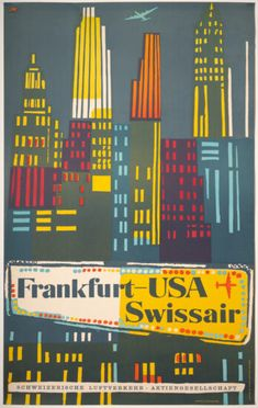 Retro Illustration, Frankfurt, Vintage Posters, American Dreams, Sky, The Originals, Artist, Artwork, Events