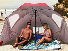 A beach umbrella, sun tent, rain shelter, and more all in one, the Portable Sun and Weather Shelter gives you instant portable protection from the elements regardless of your activity. GetdatGadget.com/portable-sun-weather-shelter-rain-shine/