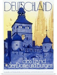 Poster Print Wall Art Print entitled Deutschland, das Land, Vintage Poster, by Ludwig Hohlwein, None
