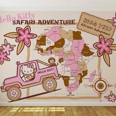 "hellokittylimited: ""I have to have this #hellokitty #safari #wallpaper for my #hellokittyroom #room #decor #homedecor #ontheblog #ebay #africa #jungle #queenofthejungle #roadtrip """