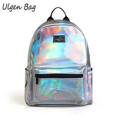 34.39$  Watch here - Fashion Women's Hologram Backpacks for teenagers girls Laser Silver Color Holographic Mirror Mini Shoulder Bags for students  #bestbuy