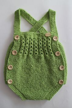 Diy Crafts - Ive made this beautiful baby romper Material: cotton thread Size: months Colour: green Crochet Baby Cocoon, Hand Crochet, Baby Vest, Baby Cardigan, Crochet Doll Pattern, Crochet Dolls, Month Colors, Crochet Doll Clothes, Knitted Bags