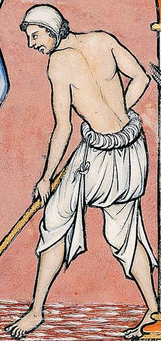 Peasant wearing a brouche or braies excerpt from Maciejowski Bible (Morgan Bible), Folio 18r, 13th century (Pierpont Morgan Library, New Yor...