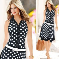 New Summer Dress 2015 Women Fashion Polka Dot Sleeveless V neck Print dress Black/White One piece Dress - Add a pop of color and this would be adorable. Vestidos Vintage, Mini Vestidos, Summer Dresses For Women, Dresses For Work, Dress Work, Cheap Dresses, Dress Summer, Ladies Dresses, Celebridades Fashion