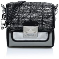 Karl Lagerfeld K/Kuilted Tweed Crossbody featuring polyvore, women's fashion, bags, handbags, shoulder bags, grey, evening purse, grey messenger bag, gray handbags, gray shoulder bag and shoulder messenger bag
