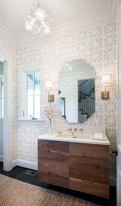 Love wallpaper for master bath. Graphic, but subtle.