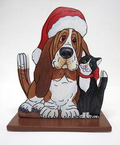 Basset Hound Santa and Black and White Kitty by artfulhounds