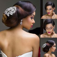 All Shades of gorgeousness! Bridal Hairdo, Hairdo Wedding, Elegant Wedding Hair, Wedding Hair And Makeup, Wedding Beauty, Wedding Looks, Bridal Makeup, Relaxed Wedding, Black Brides Hairstyles