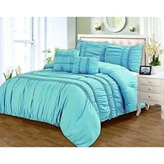 King Luxurious Blue Ruffled Comforter Set Stylish High Class Bedding Solid Pattern Polyester Classic Modern Master Bedroom Wonderful Bedding Fancy