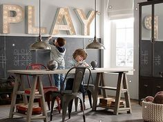 """Restoration Hardware kids- the """"PLAY"""" marquee sign is perfect for the playroom Restoration Hardware Kids, Deco Kids, Playroom Design, Boys Playroom Ideas, Playroom Table, Small Playroom, Baby Playroom, Attic Playroom, Toy Rooms"""