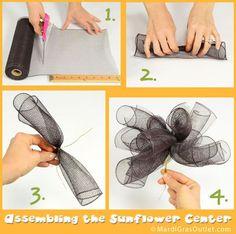 Deco Mesh Sunflower Wreath- Step 6