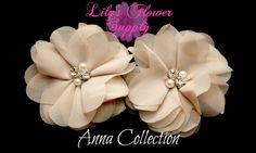 Beaded Chiffon Fabric Flowers - Wholesale - Chiffon - Beaded Flower - Folded - Ballerina - Flower Headbands - Tan - Anna Collection