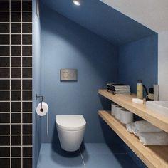 #꿀하우스 #화장실 #봄인테리어 화장실 인테리어는 처음 올려봅니다. 간단히 색상과 목재 선반만 설치해도 이쁘죠? ㅋ Tower Design, Bathroom Designs, Powder Room, Toilet, Architecture, House Styles, Interior, Image, Home