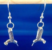 Sterling Silver HUMMINGBIRD EARRINGS 3D w/ French wires Native American made