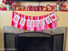 Valentines Fabric Garland Vday www.etsy.com/shop/queensbanners by QueensBanners