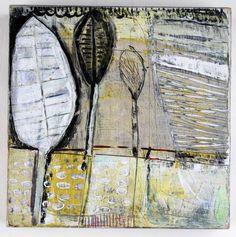 """Three Leaf Stems  Barbara Gilhooly (c) 2011  6 x 6""""  acrylic on birch"""