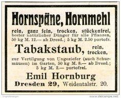 Original-Werbung/ Anzeige 1911 - HORNSPÄNE / HORNMEHL / TABAKSTAUB / HORNBURG DRESDEN - ca. 55 x 45 mm