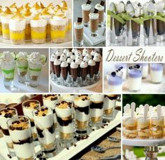 Maybe have a small cake to cut for the wedding party but mini deserts for everyone else? I'd really like to do some kind of desert shooter. Thoughts?