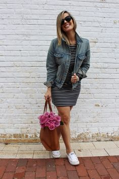 striped dress for spring | my kind of sweet | spring style inspiration | street style | ootd | spring outfit | postpartum | mom style | casual style
