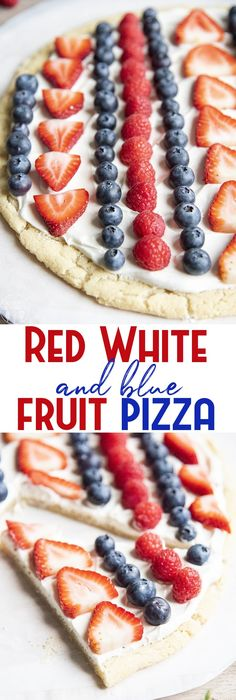 This red white and blue fruit pizza is the perfect patriotic dessert for Memorial Day, Fourth of July, or just all summer long. A sweet sugar cookie crust, topped with a cream cheese frosting, and fresh berries for the perfect sweet treat. Fruit Pizza Cookies, Sugar Cookie Pizza, Sugar Cookie Cakes, Sugar Cookie Frosting, Dessert Pizza, Sugar Cookies Recipe, Cookie Crust, Cookie Dough, Cupcake Cakes