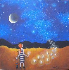Rivers Of Light    Luminaries Stars  Moon  by ChicorySkies on Etsy, $93.50