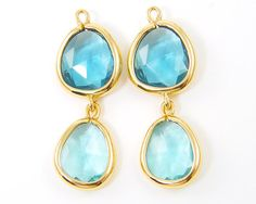 Aqua Turquoise Earring Findings Gold Drop by TheBeadDreamer