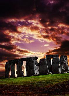 Purple Sunset Over Stonehenge, Wiltshire England